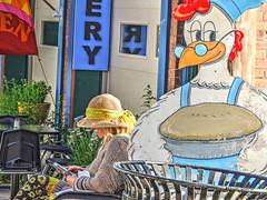 bakery (albyn.davis) Tags: colors colorful blue people woman hat fashion signage street bright vibrant vivid massachusetts shelburnefalls