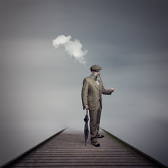 The persistance of memory (Nick Walton) Tags: surreal surrealist man beard pipe smoke memory water longexposure