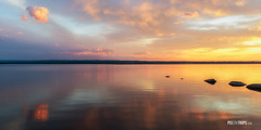 Panorama of Shirleys Bay in an early summer morning, Ottawa (pixontrips) Tags: ottawa ottawarier shirleysbay canada cloud colorful landscape morning ontario red river rock summer sunrise water