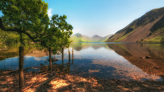 Dreamy Wast Water (Lee~Harris) Tags: water lake fence tree mountain reflections rugged june summer wastwater sky colourful magical dreamy contrast love outdoors lakedistrict light sunlight green orange tranquil landscape landscapephotography