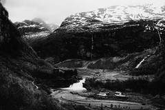 From the train window (leftyguk) Tags: norway holiday canonefs24mmstm canon760d blackandwhite flam waterfall