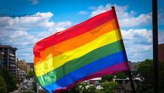 2017.07.02 Rainbow and US Flags Flying Washington, DC USA 7202