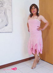 Pink dress with bright appliqués, gold open sneakers, pantyhose (Elsa Adriana) Tags: elsaadriana elsa sexylegs dress pink crossdresser clothing tgirl travesti transvestite tbabe tv transgender transgenero mature mexican