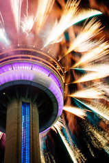 Happy 150th, Canada! (Explored 2017/07/02) (Lee Chu) Tags: project365 sel55210 sonynex6 cntower downtown fireworks canadaday toronto ontario canada canada150