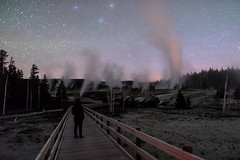 Exploring the boardwalks at night carrying bear spray (YellowstoneNPS) Tags: grandgeyser jacobwfrank milkyway uppergeyserbasin yellowstone yellowstonenationalpark bearspray employee longexposure night
