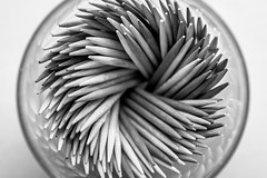 Toothpicks II B&W (Nicholas Erwin) Tags: toothpicks macro abstract constrast blackandwhite monochrome bw nikon d610 1635f4vr fav10 fav25