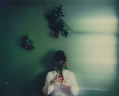 """from the """"dwell"""" series (Lisa Toboz) Tags: impossibleproject instantfilm spectrasystem polaroid selfportrait green roses ethereal motionblurfilter spectraf101"""