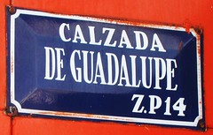 Mexico City / La Villa Guadalupe - Calzada de Guadalupe (ramalama_22) Tags: mexico city ciudaddemexico basilica villa guadalupe calzada misterios ferrcarril mexicano bus trolleybus metro subway perrovillo trafic circle glorieta postal code