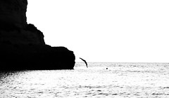 [ Dipartita - Departure ] DSC_0653.R2.jinkoll (jinkoll) Tags: sea rock cliff diving dive silhouette bnw bw blackandwhite tropea calabria man boy people street horizon