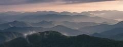 Clearing Cowee II (Appalachian Hiker) Tags: blueridgeparkway nc mountains sunset storm light fog mist westernnc cowee pano
