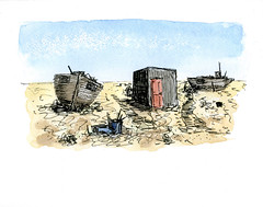 A Right Ness (fraser donachie) Tags: sketch watercolour ink dungeness pleasingdecay nostalgia whimsy pathetic public