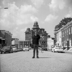 Kurt (patrickjoust) Tags: kurt photographer man standing baltimore maryland american brewery tlr twin lens reflex 120 6x6 medium format black white bw home develop film discontinued expired kodak blancetnoir blancoynegro schwarzundweiss manual focus analog mechanical patrick joust patrickjoust md usa us united states north america estados unidos urban street city