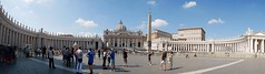 St Peter's Square, Rome (panorama). Summer holiday 2016 ❤️☀️ (Powderpuff GP) Tags: religion pillars panorama people architecture italy summerholiday rome stpeterssquare
