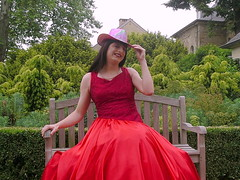 Goodbye (Paula Satijn) Tags: lady girl dress gown ballgown skirt satin lace red feminine chic outside parl bench silk shiny hot hat glamorous elegance class grace style