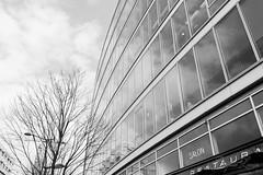 Courbes - 69 (baptiste.lasnier) Tags: paris noir et blanc ville courbes architecture bâtiment fenêtres reflets ciel