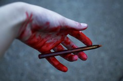 Expired (Casey Christi) Tags: pen ink red blood bloody macabre dark creepy horror hand skin body bodypart fingers nikon nikond7000