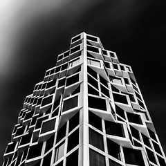 Prophet (Robert_Franz) Tags: architecture modern abstract longexposure munich münchen friends tower building blackwhite blacksky sky clowds architectural design futuristic fineart geometry germany nd square wideangle