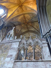 Reredos, Worcester Cathedral (carolyngifford) Tags: worcestercathedral vaulting paintedceiling reredos marble georgegilbertscott
