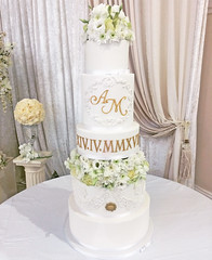Tall Roman Monogram Wedding Cake