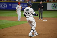 Robinson Cano rounds first (hj_west) Tags: baseball philadelphiaphillies seattlemariners safecofield mlb interleague stadium night sports