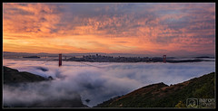 Pillow Full of Fire (Aaron M Photo) Tags: bridge california goldengate goldengatebridge hawkhill june lfe marin marincounty marinheadlands monument nikon nikond800 sf sanfran sanfrancisco sanfranciscobay sanfranciscophotography sanfrancsico sunrise burn city cityscape clouds escaype fog landscape lowfog nature