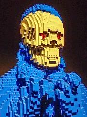 Closeup of Underneath by Lego artist Nathan Sawaya (mharrsch) Tags: underneath blue skeleton skull lego sculpture art nathansawaya artofthebrick exhibit omsi oregonmuseumscienceandindustry oregon mharrsch