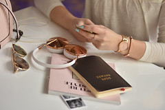 flatlay (VespertinePix) Tags: flatlay blogger fashion coffee hadphones gold silver rosegold shop notebook sunglasses watch teal book ring jewlery photo female lady girl purse pink pale peach blog