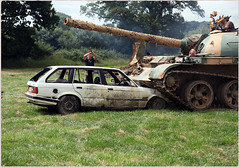 Capel Military Vehicle Show 2017: Who parked that there ! (pg tips2) Tags: capel surrey military bmw tank crushing crush crushed