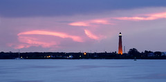 A pink ribbon at Ponce Inlet. (Jill Bazeley) Tags: ponce de leon inlet new smyrna beach dunes park volusia county florida usa long exposure sunset lighthouse blue hour intracoastal waterway a6300 sony 70200mm f4 halifax river indian lagoon