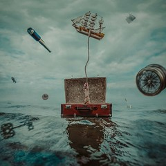 Suitcase (Smetana Art) Tags: suitcase beach sea art nikon minimalism girl beauty clouds ship rope case water conceptual key treasure map world butterfly summer watercolor posing compass telescope hand book jar fish czech czechphoto czechgirl squareformat square