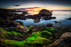 Unearthly (Augmented Reality Images (Getty Contributor)) Tags: canon clouds colours landscape leefilters longexposure lowtide morayfirth portknockie rocks scotland seaweed sunset water waves