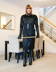 Subtle Change (4) (Furre Ausse) Tags: black satin dress wide leather belt boots gloves