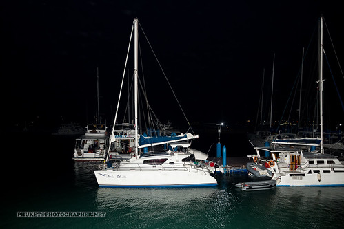 Yachts at night, Chalong Bay, Phuket