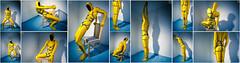 Blue Rope (llbdevu) Tags: yellow black blue white rope bondage posing zentai catsuit bodysuit tight shiny men boy lycra spandex bulge encasement catchy ervy unitard gloves socks