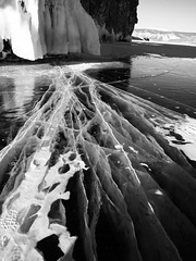 Fault Lines in the ice..... (setoboonhong ( On and Off )) Tags: nature outdoor lake baikal southern siberia russia travel frozen ice fault lines depth landscape bw snow icicles rocks island