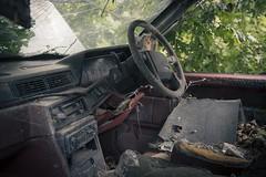 'Volvo...built to last' (Taken-By-Me) Tags: takenbyme abandoned adventure creepy car motor auto automobile volvo eerie explore decay nikon d750 empty derelict rusty ruin urbex urban green seat steering wheel uk