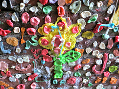 Gum flower (Ruth and Dave) Tags: pikeplace gumwall seattle chewinggumm wall bubblegum gum flower graffiti disgusting gross weird intriguing cool