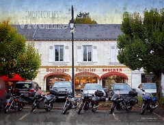 """MotorCycles"" Vivonne (Mike Cordey) Tags: photopainting boulangerie motorbikes motorcycles france vivonne"
