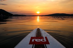 Boarding Time 8 p.m. (Yarin Asanth) Tags: sup yarinasanth gerdkozik gold liquid sundown sunset goldenhour bodensee lakeconstance ludwigshafen bodman afterwork training relaxing calm white carbon starboard board 140 race standuppaddling paddle red