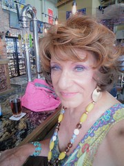 """""""What? Did I Hear You Correctly?"""" (Laurette Victoria) Tags: bar beer milwaukee laurette woman auburn dress necklace"""