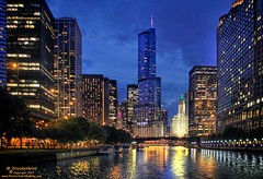 View up the Chicago River in Downtown Chicago Illinois (PhotosToArtByMike) Tags: chicago chicagoriver chicagoillinois skyscrapers buildings architecture downtownchicago bridge downtownbuildings bluehour night lowlight illinois il
