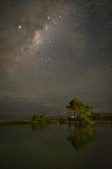 Under a cloudy sky (lizcaldwell72) Tags: water trees sky hawkesbay newzealand reflection milkyway cloud