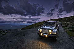 Coming Down the Mountain (Frank C. Grace (Trig Photography)) Tags: jackson newhampshire unitedstates jeep wrangler jeepwrangler mountwashington newengland dusk bluehour twilight goldenhour autoroad hdr highdynamicrange raw d810 on1pics frankcgrace trigphotography elevation altitude unlimited specialedition 4x4 silver gray curve rocks granite clouds dramaticskies