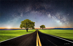 Double line (Jean-Michel Priaux) Tags: paysage landscape tree trees photoshop line road unreal surreal dream painting milkyway mattepainting paint paintmapping sky star