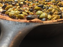 Black & Green Olives atop a Deep Dish #Pizza - h (SouthernBreeze) Tags: iron skillet olives black green iphoneograpy light sooc kitchen travel trip family fun friends recipe pizza i6 iphoneography deepdishpizza deep dish cooking howto food color 2017 ironskillet usa tasty delicious flavor