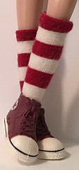Maroon and Ivory Striped Socks...For Blythe...