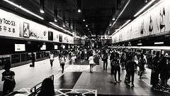 Where are you going ? Happy weekend ~ 你要去哪裡?周末愉快~ (葉 正道 Ben(busy)) Tags: 風景 landscape taiwan taipei monochrome bw 黑白 單色 mrt station people 人 taipeiˍcityˍhall traveler 旅人