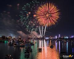 """Orange Crush""  Bay City, Michigan 2017 (Michigan Nut) Tags: baycityfireworks boats fireworks michigan baycitymichigan purple orange usa photography"