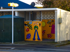 The Ladies (Steve Taylor (Photography)) Tags: art graffiti mural streetart sign building colourful fun happy paint girl child kid newzealand nz southisland canterbury christchurch insect bee ladybird smile sun waltham