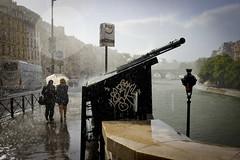 Averse (Calinore) Tags: france paris city ville seine river fleuve rain pluie storm orage umbrella parapluie quais dock bouquiniste lamp lamapdaire reverbere